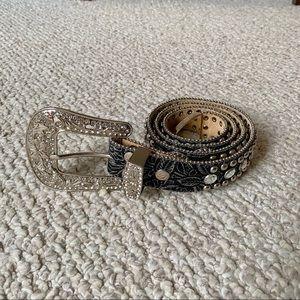 Black tooled rhinestone belt